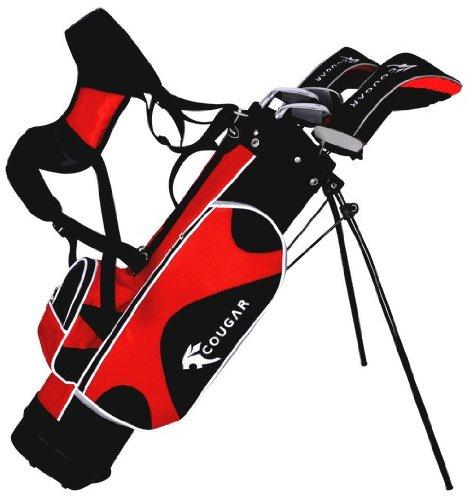 Cougar Junior Set de golf pour débutant droitier 5-7 ans avec club nº7 et SW, métal, fibre de carbone Rouge/Noir/Blanc 8-10 ans