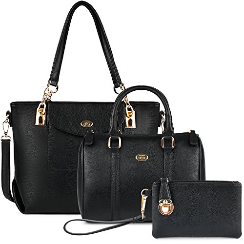 Damen Handtaschen, Coofit Handtasche Leder Tasche Set mit Crossbody Tasche Umhängetasche Damen Henkeltaschen Handgelenktasche