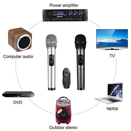 U-Kiss Equipo de 2 Micrófono de Karaoke Inalámbrico K18U, Bluetooth Portátil de metal con con caja de receptor para casa, KTV, fiesta al aire libre