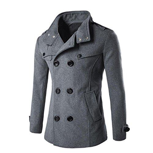 Ropa de abrigo para hombre, RETUROM vestido largo moda hombres otoño invierno doble fila botón lana abrigo suéter Top blusa cuello (M,