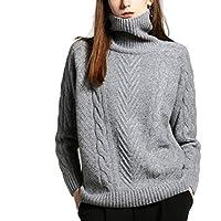 Haxibkena Suéter de Cuello Alto con Cachemir para Mujer, Manga Larga, suéter para niñas (Color : Dark Gray, Size : L)