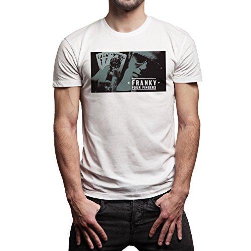 Snatch Movie Brad Pitt Franky Four Fingers Cards Background Herren T-Shirt  Weiß