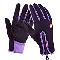Winter Gloves - Tuopuda Windproof Touchscreen Sports Gloves Unisex Outdoor Full Finger Gloves for Running Cycling Skiing Hiking Hunting Climbing Camping (M, purple)