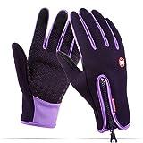 Tuopuda Winter Handschuhe Winddichte Touchscreen Sport Handschuhe Unisex Outdoor Vollfinger Handschuhe zum Laufen Radfahren Skifahren Wandern Jagen Klettern Camping (XL, lila)