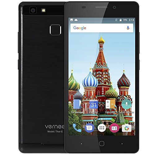 Vernee Thor E 4G Smartphone 5.0 pulgadas Android 7.0 MTK6753 Octa Core 1.3GHz 3GB RAM 16GB ROM Touch Sensor 5020mAh Batería Full Metal Cuerpo Negro