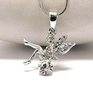 Children's Jewellery Collier avec pendentif Fée clochette-Plaqué or blanc, avec un Cristal Rond Transparent)