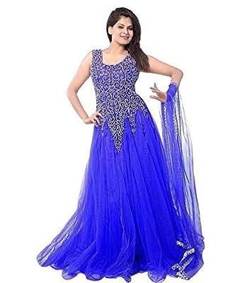 Janasya Women's Net Semi-Stitched Dress Material (JNE-DR-0900-ROYAL BLUE.B_Royal Blue)