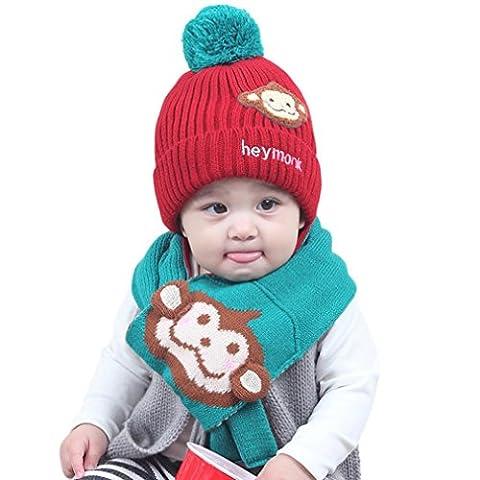 URSING Baby Jungen Mädchen Kinder Cartoon Affe Hut Mütze mit hochwertigem schlafendes Strick Mütze Hut + Komfortable Baumwolle Hals Schal 2pcs Kind stricken warme Hüte (Netter Baby-affe-kostüme)