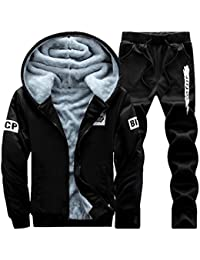 2c03caaf77 Men Winter Thick Casual Tracksuits 2 Pieces Sets Sports Jogging Hoodie  Cardigan Sweat Suits