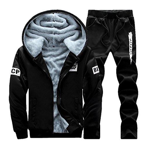Uomo Zip Felpe Giacche Invernali Caldo Tuta Cappotto Hooded Sweatshirt Cappuccio Pantaloni 2 Pezzi jogging palestra Set