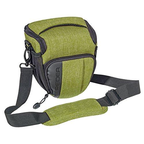 """'PEDEA SLR""""Fashion borsa per fotocamera Nikon D90, D500, D610, D3300, D3400, D5300, D7100, D7200/Pentax K 50, K 500, K-S2/Canon EOS 1300d (taglia M) verde con pellicola protettiva"""