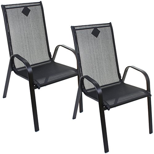 Black Stacking Textoline Chairs Outdoor Garden Furniture High Back Seating Patio (2)