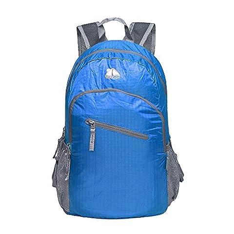 YEAHJOY 20L Leichte Reiseausrüstung Zusammenfaltbarer Rucksack für Tagestouren Wanderung Radfahren Schule Handgepäck Reisegepäck für Männer und Frauen,blau