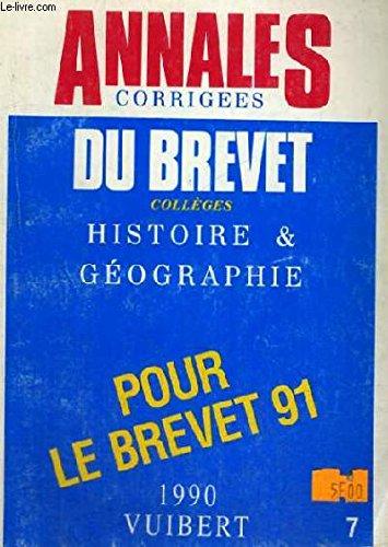 Annales corrigées du Brevet, 1992 : histoire-géographie