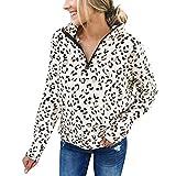 feiXIANG Damen Sweatshirt Mantel Leopardenmuster Freizeitkleidung Jacket Trenchcoat Kurzmantel (Weiß,S)