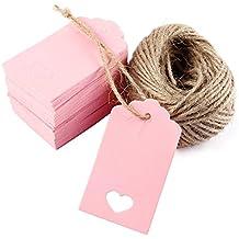 100pcs Etiquetas Rosado Colgantes de Cartulina para Regalo Equipaje Embalaje + Cordel de 20 metros ,