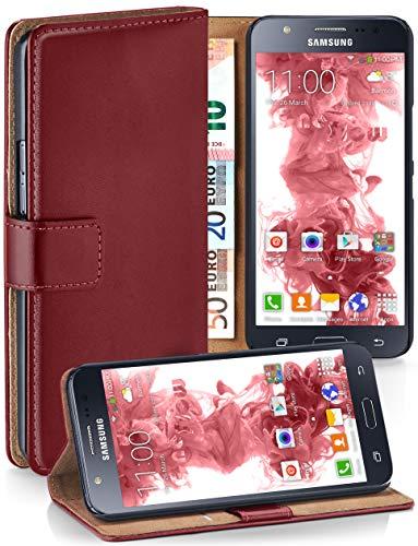 moex® Booklet mit Flip Funktion [360 Grad Voll-Schutz] für Samsung Galaxy J5 (2015) | Geldfach und Kartenfach + Stand-Funktion und Magnet-Verschluss, Dunkel-Rot