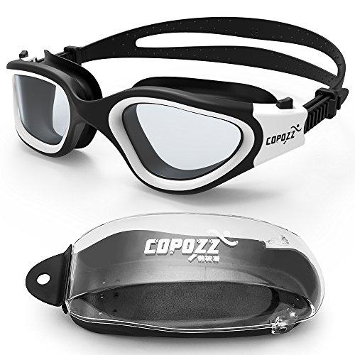 Schwimmen Brillen, copozz G3720 verspiegelt/klar Schwimmbrille breit View Kein auslaufen Anti Nebel UV-Schutz Schwimmbrille mit verstellbarem Riemen Schutz Fall für Männer Frauen Youth, CleaWhite Suit