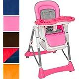 TecTake Trona para niños con bandeja y bebés naranja de altura regulable - disponible en diferentes colores - (Rosa)