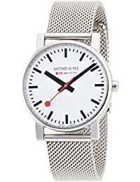 Mondaine Men's Quartz Watch with White Dial Analogue Display and Silver Stainless Steel Bracelet