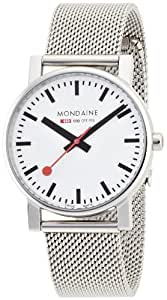 Mondaine Men's Quartz Watch with White Dial Analogue Display and Stainless Steel Bracelet