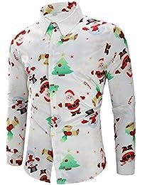 NINGSANJIN-Noel Chemise Hommes Manches Longues Occasionnels Flocons de Neige Santa Candy Imprimé Chemiser de Noël Haut Blouse
