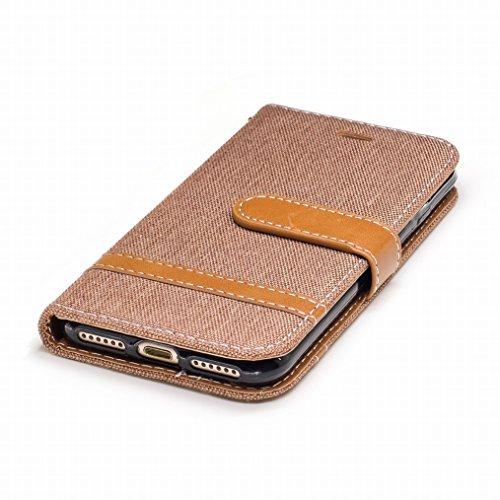 LEMORRY Cover Apple iPhone 6s Plus 5.5 Custodia Pelle Portafoglio Cuoio Flip Borsa Con Slot per Schede Sottile Protettivo Magnetico Chiusura Morbido Silicone TPU Cover Case, Stile del denim Porpora Marrone