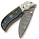DAMASCO LAME E COLTELLI 9139Couteau Damas Artisanale–Couteau Pliant–Couteau de Camping–Couteau de Poche Couteau de Collection–avec Fourreau en Cuir–Couteau de Haute qualité 100%...
