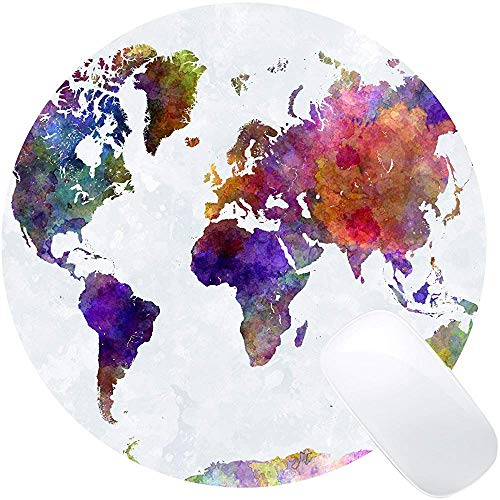 Vintage Acuarela Mapa del Mundo Imprimir Arte Alfombrilla de ratón Redonda Lindo Retro Mapa Antiguo Alfombrillas de ratón Circulares Estera Linda