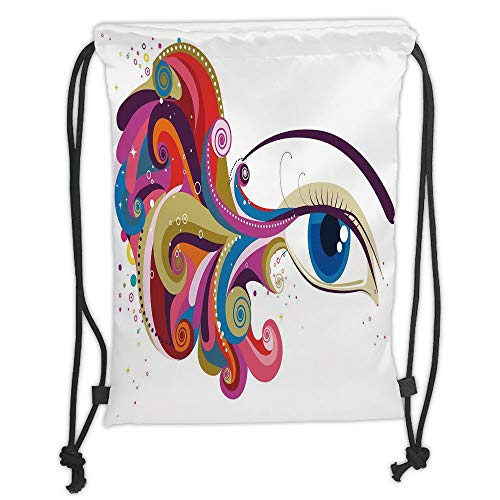 OQUYCZ Drawstring Sack Backpacks Bags,Eye,Abstract Artwork Womans Eye Colorful Vibrant Swirls Dots Curvy Lines Feminine Vision Decorative,Multicolor Soft Satin,5 Liter Capacity,Adjustable STRI