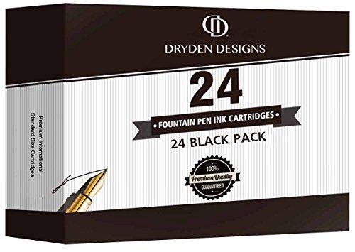 Füllhalter Füllfederhalter Füller-Tintenpatronen von Dryden - 24 SCHWARZ - Kurze internationale Standardgröße - Einweg-Nachfüllpatronen - Perfekt für Kalligraphie