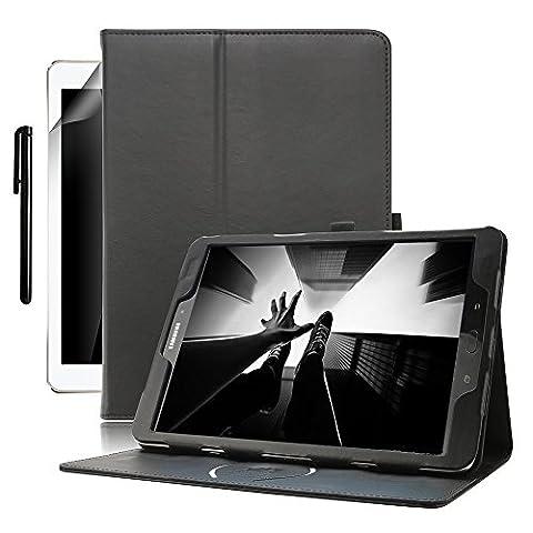 Samsung Galaxy Tab S3 9.7 Hülle, Boriyuan Echt Leder Case Schutztasche, mit Standfunktion, Automatische Schlaf/Aufwachen Funktion für das Samsung Galaxy Tab S3 9.7 Zoll SM-T820 T825 - (Schwarz)