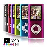 Ueleknight MP3-Player MP4-Player mit einer 32G Micro SD-Karte, Wiedergabe 32GB Musik-Player Hi-Fi-Sound, tragbarer digitaler Musik-Player mit FM-Radio und Voice Recorder Funktion-Rosa