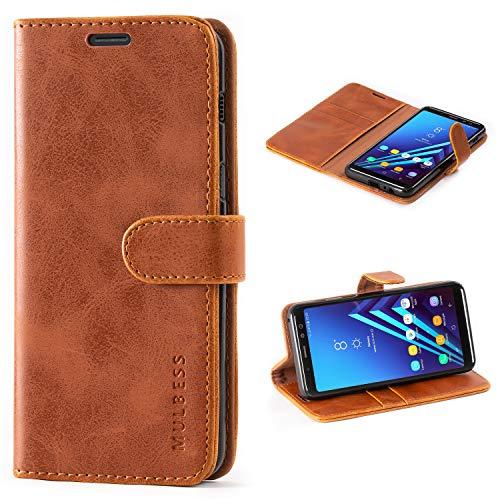 Mulbess Handyhülle für Samsung Galaxy A8 2018 Hülle, Leder Flip Case Schutzhülle für Samsung Galaxy A8 2018 Tasche, Cognac Braun