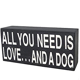 NIKKY HOME Wooden All You Need Is Love And A Dog Decorative Box Sign Plaque, 15 x 4.1 x 7 CM