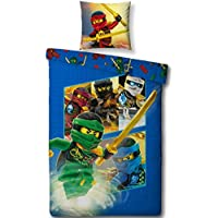 """Lego NINJAGO Kinderbettwäsche """" TEAM Ninja """" Kinder Jungen Bettwäsche Set 2 tlg. 80x80 + 135x200 cm 100 % Baumwolle - deutsche Standard Größe -"""