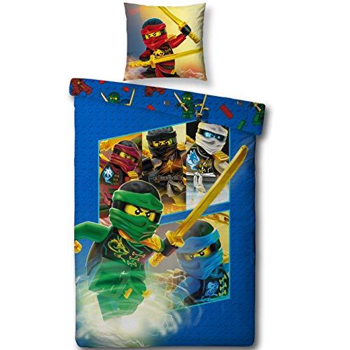 "Lego NINJAGO Kinderbettwäsche \"" TEAM Ninja \"" Kinder Jungen Bettwäsche Set 2 tlg. 80x80 + 135x200 cm 100 {886607732cd3087e249bd510547c39581ddaf5f12ab171b0b29a86f9cafc83ce} Baumwolle - deutsche Standard Größe -"