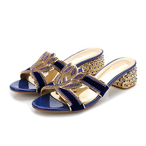 ZYUSHIZ Mme Cool pantoufles de diamants synthétiques Texte gras avec Faites glisser les chaussons Cool 37EU