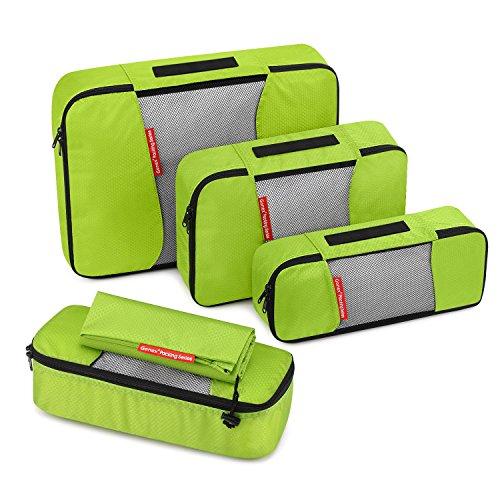 Gonex – Conjunto de Packing Cubes Organizadores de Equipaje/Viaje Bolsas de Embalaje/Almacenaje Ultraligeros Multifuncionales Rip-Stop de Nylon(L+2S+R+Bolsa de Lavandería) Verde