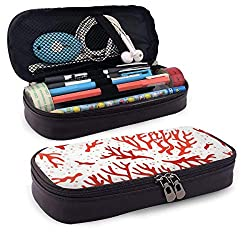 Coral Pattern Ocean Sea Reef Corals Aquarium Leather 3D Nanotechnology Printed Pencil Case Pouch Zippered Pen Box School Supply for Students,Big Capacity Stationery Box for Girls Boys and Adults