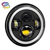 #10: Genxtra® 7 Inch 4 LED Full Ring Headlight With Dual DRL Color, DOT Approved Headlight For Royal Enfield and Jeep 97-16 Wrangler (75 Watt, Black)