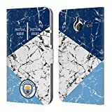 Head Case Designs Personalisierte Individuelle Manchester City Man City FC Marmor 2018/19 Brieftasche Handyhülle aus Leder für Microsoft Lumia 640 XL/Dual SIM