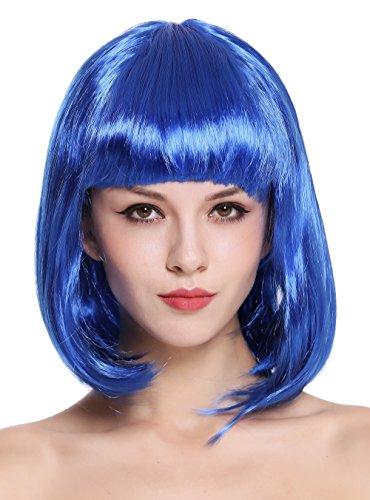 C3 Perücke Damenperücke Karneval Longbob Bob schulterlang glatt blau ()