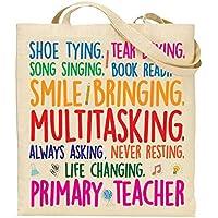 Shoe Tying, Tear Drying, Smile Bringing, Multitasking Primary Teacher - Gift For Teacher - TOTE BAG - Shopping Bag - Reusable Bag - Bag For Life - Beach Bag - Totes