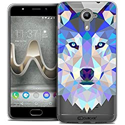 Caseink - Coque Housse Etui pour Wiko U Feel Prime [Crystal Gel HD Polygon Series Animal - Souple - Ultra Fin - Imprimé en France] Loup