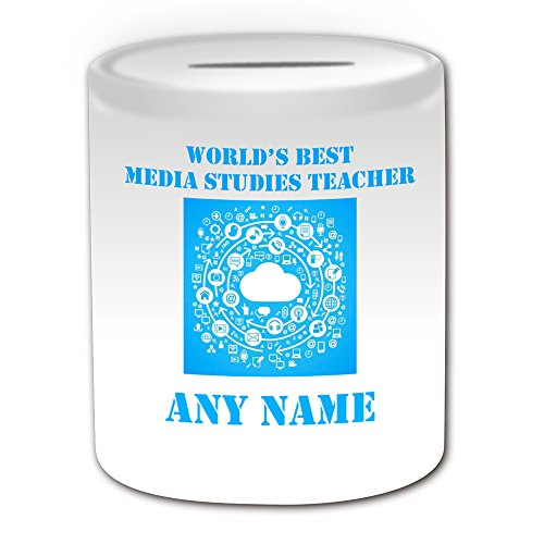 Personalised Gift - World's Best Media Studies Teacher / Multimedia Cloud Money Box (Academic Design Theme, White) - Any Name / Message on Your Unique - School College University - News TV by UniGift (Law School In A Box)