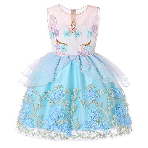 Peggy Gu Kostüm Cosplay Prinzessin Weihnachten Kleid Halloween Mädchen Einhorn Kleid ärmellose Prinzessin Kleid Kinder Party Kostüm Schicke Party (Farbe : Blau, Größe : (3t Einhorn Kostüm)