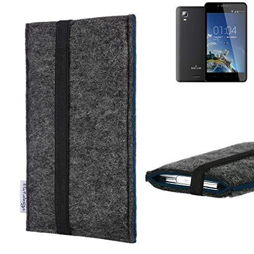 flat.design Handyhülle Lagoa für Kazam Trooper 2 6.0 | Farbe: anthrazit/blau | Smartphone-Tasche aus Filz | Handy Schutzhülle| Handytasche Made in Germany