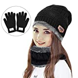 Winter Hat sciarpa set, Fixget caldo cappello di maglia inverno Beanie Hat set includono cappello sciarpa più caldo guanti di spessore maglia teschio cappuccio outdoor sport hat set per adulti bambini