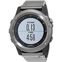 Garmin 010-01338-26 Fenix 3 - Reloj multideporte con GPS y correa, Reloj Gris/Correa Negra metalica, Talla única